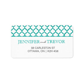 Modern Moroccan Pattern Label Teal Personalized Address Labels