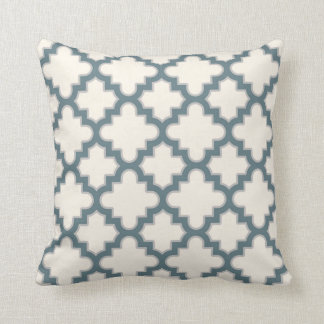 Modern Moroccan Quatrefoil in Blue Grey Cream Throw Pillow