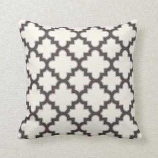Modern Moroccan Quatrefoil in Cream Brown Grey Throw Pillow