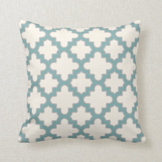 Modern Moroccan Quatrefoil in Cream Teal Grey Throw Pillow
