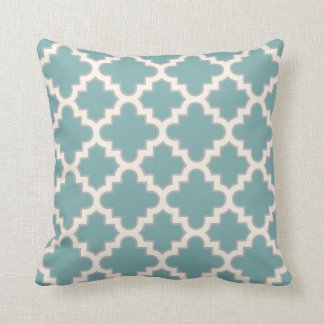 Modern Moroccan Quatrefoil in Teal Cream Grey Pillow