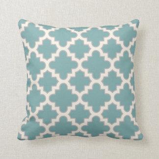Modern Moroccan Quatrefoil in Teal Cream Grey Pillow