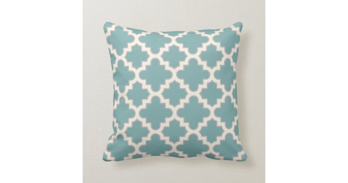 Teal And Cream Decorative Pillows : Modern Moroccan Quatrefoil in Teal Cream Grey Throw Pillow Zazzle