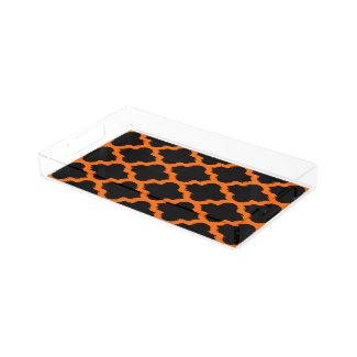 Modern Moroccan Quatrefoil On Black Rectangle Serving Trays