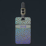 """Modern Mosaic Animal Print Bag Tag<br><div class=""""desc"""">Modern Mosaic Animal Print Luggage Tag. Enjoy the stylish optical illusion effect with the blue to purple tones of the ombre background as you travel with style. Change the info for your contact information, or add a monogram in place of your name on the front to customize. Matching passport holder...</div>"""