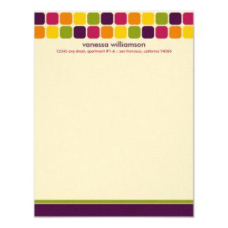 "Modern Mosaic Custom Flat Note Cards (eggplant) 4.25"" X 5.5"" Invitation Card"