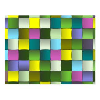 Modern Mosaic Woven Pattern Postcard