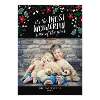 Modern Most Wonderful Holiday Greetings Photo Card