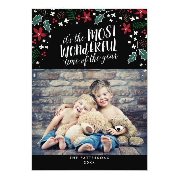 Modern Most Wonderful Holiday Greetings Photo Card