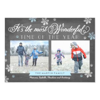 Modern Most Wonderful Time Holiday Chalkboard Card