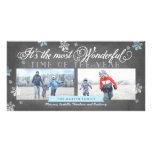 Modern Most Wonderful Time Holiday Chalkboard Card