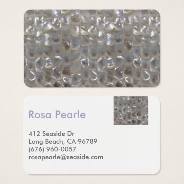 Beach Themed Modern Mother of Pearl Contact Card