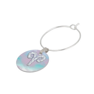 Modern Mother of Pearl Style Aries Zodiac Symbol Wine Glass Charm