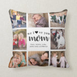 """Modern Mother's Day Love Mom Family Photo Collage Throw Pillow<br><div class=""""desc"""">Modern Mother's Day Love Heart Mom Family Photo Collage Throw Pillow</div>"""