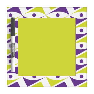 Modern Motif Purple & Chartreuse   Yellow-Green Dry-Erase Whiteboard