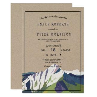 Modern Mountain Woodland Forest Wedding Invite