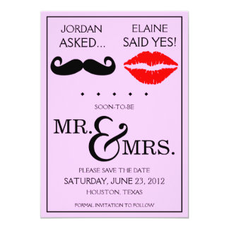 Modern Moustache Lips Mr. & Mrs. Save the Date 5x7 Paper Invitation Card