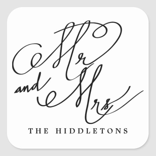 Modern mr and mrs calligraphy script wedding square