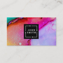 Modern Multi-color Watercolors Cool Abstract Art Business Card