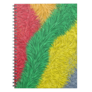 Modern multicolored furry pattern spiral notebook