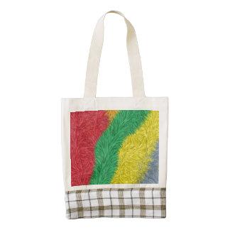 Modern multicolored furry pattern zazzle HEART tote bag