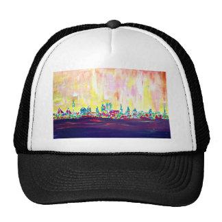 Modern Munich Skyline Silhouette in Neon Trucker Hat