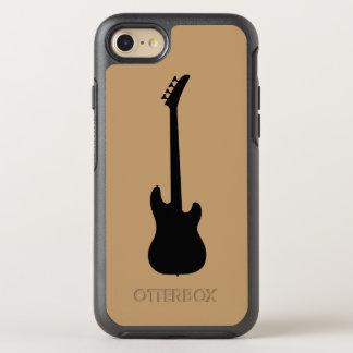 Modern Music Black Bass Guitar on Camel Brown OtterBox Symmetry iPhone 7 Case