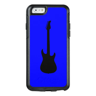 Modern Music Black Electric Guitar on Blue OtterBox iPhone 6/6s Case
