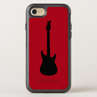 Modern Music Black Electric Guitar on Dark Red OtterBox Symmetry iPhone 8/7 Case