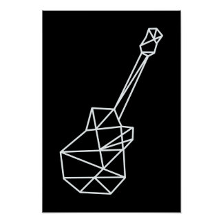 modern music geometric guitar on black poster