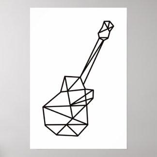 modern music geometric guitar on white poster