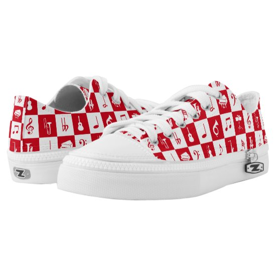 Modern Music Notes and Instruments red and white Low-Top Sneakers