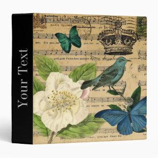 modern music notes rose french botanical print binder