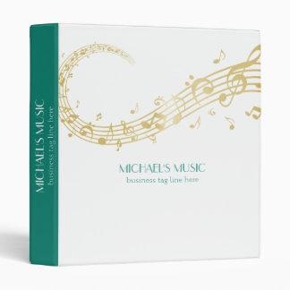 Modern Musical Business Branding Gold Music Notes Vinyl Binder