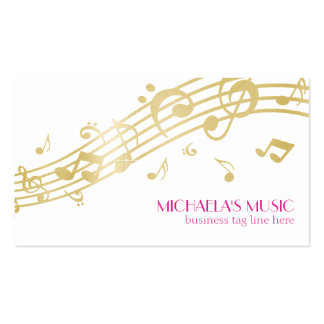 Modern Musical Business Branding Gold Music Notes Double-Sided Standard Business Cards (Pack Of 100)