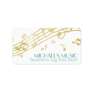 Modern Musical Business Branding Gold Music Notes Address Label
