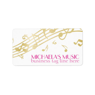 Modern Musical Business Branding Gold Music Notes Personalized Address Labels