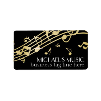 Modern Musical Business Branding Gold Music Notes Address Label