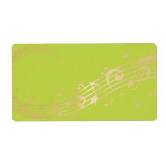Modern Musical Business Branding Gold Music Notes Label