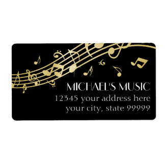 Modern Musical Business Branding Gold Music Notes Shipping Label