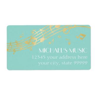 Modern Musical Business Branding Gold Music Notes Label