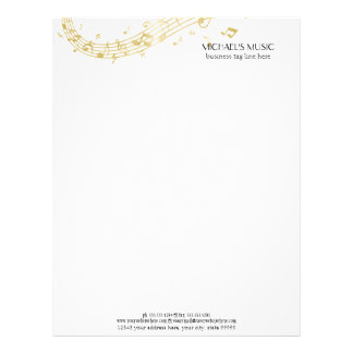 Modern Musical Business Branding Gold Music Notes Letterhead