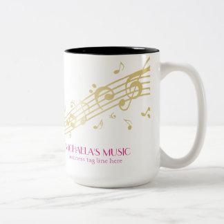 Modern Musical Business Branding Gold Music Notes Two-Tone Coffee Mug
