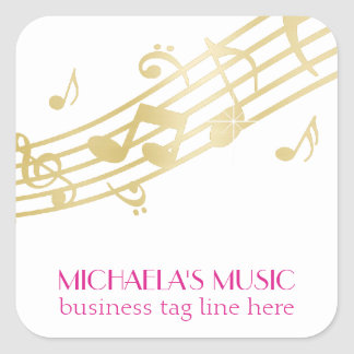 Modern Musical Business Branding Gold Music Notes Square Sticker