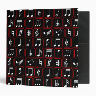 Modern musical notes in white with red border vinyl binder