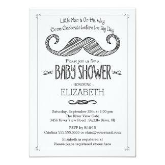 Modern Mustache Baby Shower Invitatation Card