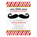 Modern Mustache Boy Graduation Invitation