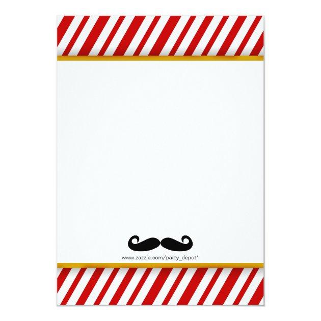 Modern Mustache Boy Graduation Invitation (back side)