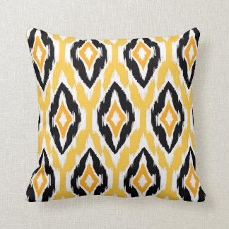 Modern mustard black white Ikat Tribal Pattern 1a Throw Pillows