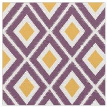 Modern Mustard Yellow and Purple Ikat Pattern Fabric